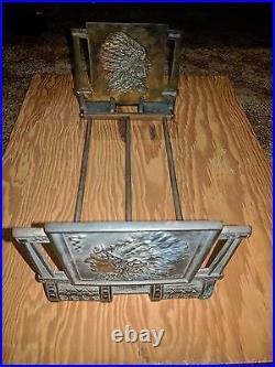 Antique Native American Indian Cast Iron Bookrack Bookends Bronze Book Art Rack