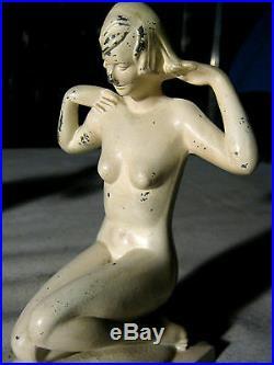 Antique Nude Flapper Bronzart Deco Lady Girl Art Statue Sculpture Bookends