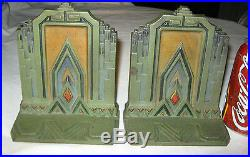 Antique Ny Deco Bradley Hubbard Architectural Empire Building Cast Iron Bookends