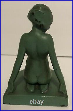 Antique Original 1927 Frankart Art Deco Nude Nymph Lady Woman Statue Bookends
