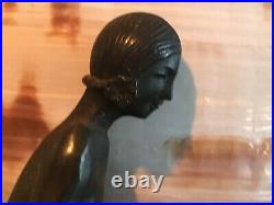 Antique Pair BRONZE ART DECO BOOKENDS Nude Woman Feeding Fawn WithMarble Base