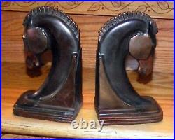 Antique Pair Dodge Trojan Horse Bookends Art Deco Copper Bronze Cast Metal