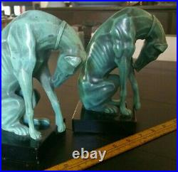 Antique Pair Greyhound Figure Bookends Art Deco Metal w Enamel on Black Marble