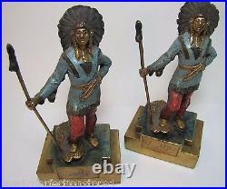 Antique Paul Herzel Pompeian Bronze Native American Indian Warrior Art Bookends