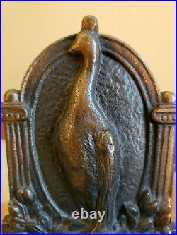 Antique Peacock Bookends, Bronze, Art Nouveau/ Art Deco, Heavy, Patina, EUC