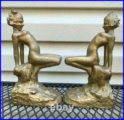 Antique Rare Armor Bronze Nude Woman Lady Art Deco Statue Book Bookends
