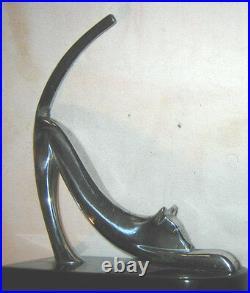Antique Retro USA Modern Heavy Chrome Art Deco Cat Statue Sculpture Bookends Toy