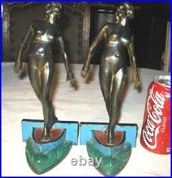 Antique Ronson Art Deco Nude Lady Bust Statue Sculpture Sea Boat Ship Bookends