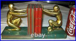 Antique Ronson Flapper Art Deco Nude Lady Bust Statue Sculpture Book Bookends