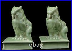 Antique Rookwood OWL Perched on a BOOK BOOK ENDS or PAPER WEIGHTS #2655. 1952