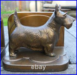 Antique Signed Frankart Art Deco Scottie Dog Bookends Dogs In Great Condition