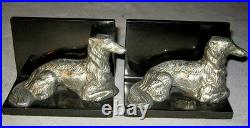 Antique Solid Cast Iron Art Deco Borzoi Wolfhound Dog Art Statue Bookends Hubley