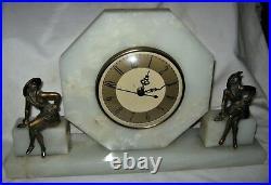 Antique Solid Marble Art Deco Gerdago Pixie Lady Bust Bookends Us Mantel Clock