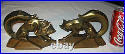 Antique USA Art Deco Bronze Clad Cubist Fox Hunt Statue Sculpture Book Bookends