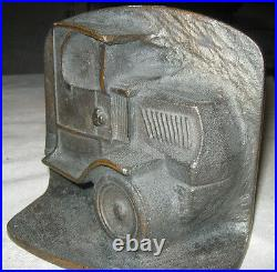 Antique USA Art Deco Mack Truck Oil Gas Tool Statue Cast Iron Bookends Bronze Us