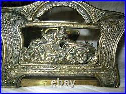 Antique USA Art Deco Nouveau Judd Cast Iron Racing Car Book Rack Bookends Holder