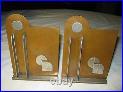 Antique USA Industrial Machine Age Art Deco Geometric 3-d Copper Statue Bookends