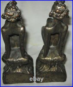Antique Us Armor Bronze Nude Woman Lady Art Deco Statue Sculpture Book Bookends