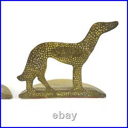Antique Vintage 1929 Art Deco Borzoi Russian Wolfhound Dogs Brass Bookends