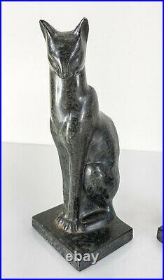 Antique Vintage Art Deco Egytpian Revival Cat Bookends Frankart Style Cast Metal