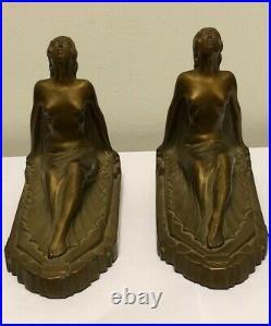 Antique Vintage Art Deco Frankart Pair of Figural Nude Female Bookends