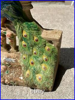 Antique Vintage Hubley Cast Iron Peacock by Urn on Fence Doorstop Original Paint