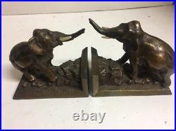 Antique Vintage Pair Elephant Bookends Bronze Finish