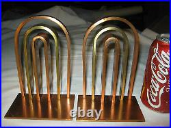Antique Von Nessen Art Deco Industrial Chase Copper Brass Architectural Bookends