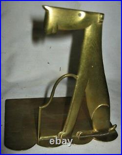 Antique Whw Hagenauer Austria Bronze Terrier Dog Art Statue Sculpture Bookends