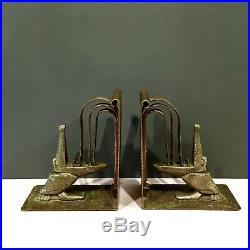 Antq Arts Crafts Deco Edgar Brandt Design Hammered Copper And Bronze Bookends