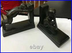 Art Deco 192O Bronze Boy & Girl Satyr Bookends Paul Silvestre Susse Freres Paris