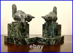 Art Deco Bookends Cat Sculpture Signed Moreau