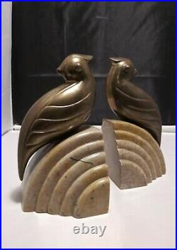 Art Deco Brass Birds Bookends on Marble Stone