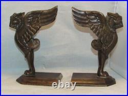 Art Deco Brass Bronze Griffin Griffon Gryphon Statues Or Bookends Near Mint