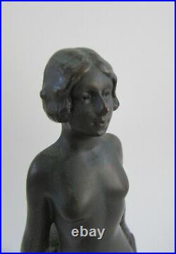 Art Deco Bronze Nude Sculpture Bookend Collection Francaise ELYSE by Riviere