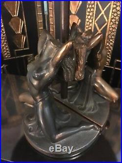 Art Deco Bronze Nude Women Lamp Bookends 1930s