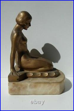 Art Deco Diana Naked Lady Bookend Statue Marble Base Fine Detailed Cast Metal
