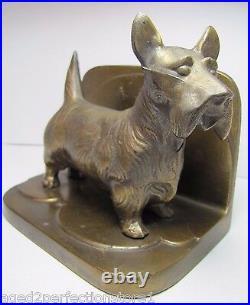 Art Deco FRANKART SCOTTIE DOG Bookend full figural cast metal brass wsh book end