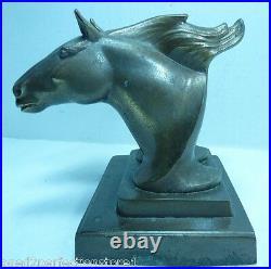 Art Deco FRANKART Twin HORSES Bookend horse heads decorative art statue