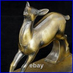 Art Deco Frankart Gray Metal Doe Bookends Circa 1934
