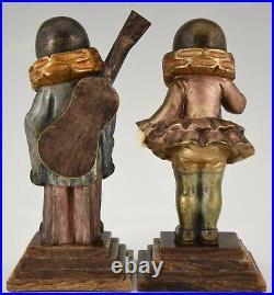 Art Deco French bronze bookend sculptures Pierrot et Pierrette 1930