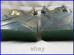 Art Deco Geometric Design Base Sphinx Looking Cats Pompeian Bronze Bookends