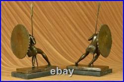 Art Deco Greek hoplite Warrior Bookends Book Ends Bronze Sculpture Figurine DEAL