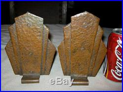 Art Deco Hammered Copper Bookends