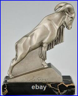 Art Deco Ibex or ram bookends Max Le Verrier France 1930