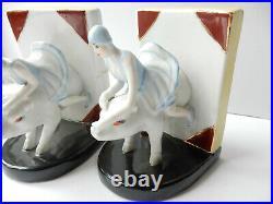 Art Deco Lady on Flying Pig Porcelain Ceramic Library Book Ends