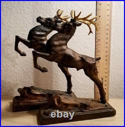 Art Deco Leaping Deer, Gazelle, Stag Vintage Spelter Metal Bookends