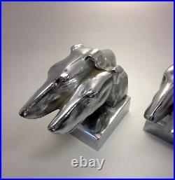Art Deco Machine Age Chrome Nuart Style Greyhound Whippet Borzoi Dog Bookends