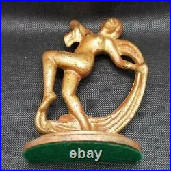 Art Deco Nouveau Dancing Nude Lady Figural Cast Iron Book Ends Bookends