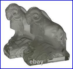 Art Deco Pair Bookends INGRID / HOFFMANN Glass PAZOUREK Design 1930's